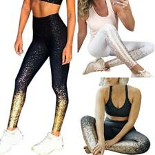 7c2afac2c840e1 UK Women Stamping Fitness Yoga Leggings Golden Gym Sport Workout Pants  Trousers