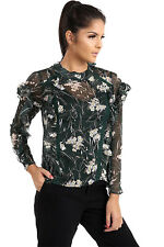 Womens Long Sleeves Top Transparent Sheer Round Neck Floral Printed Frill Shirt