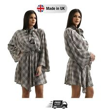 Womens Casual Summer Grey Plaid Flare Sleeve Pussy Bow V-Neck Dress Size 8 to 14