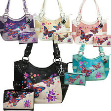 Butterfly Purse Western Handbag Embroidered Concealed Carry Bag Tote Wallet Set