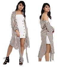 Womens White Striped Maxi Long Sleeve Side Split Belted Casual Kimono Jacket Top
