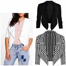 New Womens Ladies Waterfall Style Cropped Blazer Jacket Coat Top Plus Size 8-26