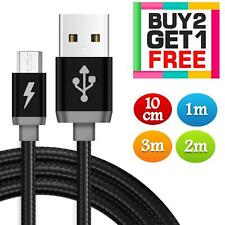 Braided Long Micro USB Charger Data Cable Lead for Samsung Android Phones 2m 3m