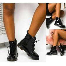 Womens Ladies Ankle Boots Flat Heel Lace Up Worker Army Doc Black Goth Shoe Size