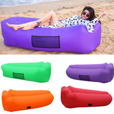 Inflatable Air Sofa Bed Lazy Sleeping Camping Bag Beach Hangout Windbed Couch UK
