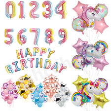 32'' Rainbow Number Age Balloons Giant Foil Happy Birthday Party Decoration 0-9