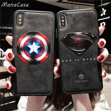 Marvel Captain America iron Man Batman Leather Phone Case For iPhone X XS 6 7 8