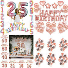 Rose Gold Number 0~9 Happy Birthday Banner Balloons Self Inflating  Party Decor