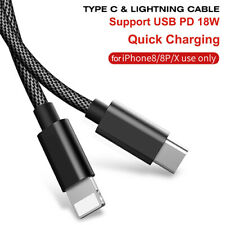 1M USB Braided Lightning Cable Type C to Sync Charger iPhone 6 7 8 Plus iPad Mac
