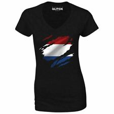 Womens Torn Netherlands Flag V-Neck Holland Dutch Amsterdam Country national
