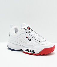 Womens FILA Disruptor II Premium White Red Blue Shoes NEW 2
