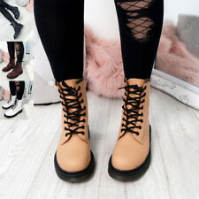 WOMENS LADIES ANKLE BOOTS LACE UP COMBAT LOW BLOCK HEEL CHUNKY SHOES BOOT SIZE