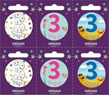 Age 3 3rd Happy Birthday Badge Boy Girl Small Children/'s Party Gift Present