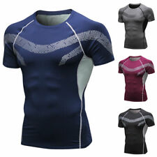 Mens Compression Sports T-Shirt Short Sleeve Base Layer Workout Tee Tops Running