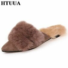 HTUUA Cozy Soft Winter Home Slippers Women Warm Plush House Indoor Slippers Ladi