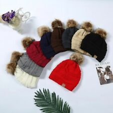 WOMENS KIDS WINTER KNITTED Beanie Hats with cute Faux fur Pom Pom Ball sky Hat