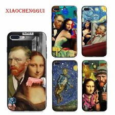 Mona Lisa funny Spoof Art Cases For iPhone X XR XS MAX Van gogh Starry soft