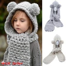 Kids Boys Girls Children Winter Animal Knitted Hat Hooded Scarf Earflap Cap Gift