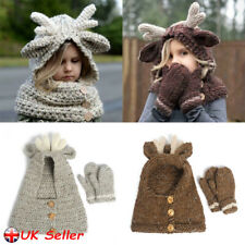 Children Winter Hat Warm Hooded Scarf Earflap Knitted Cap Gift Kid/Boy/Girl
