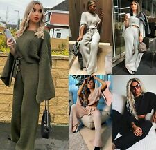 Womens Ladies Slit Jumper Crop Top Tie Wide Leg Trousers Knitted Loungewear Set