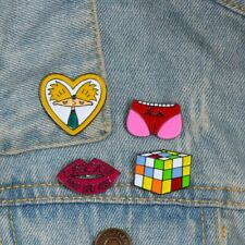 Cute Funny brooches Pink heart pig butt Cube Cube Lips enamel pin badge brooch