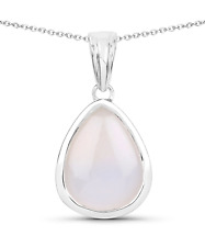 4.46ctw Natural White Agate Rhodium Plated 925 Sterling Silver Drop Pendant With