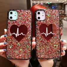For iPhone 11 Pro Max XS XR X 8 7 6S Bling Love Heart Glitter Fashion Case Cover