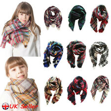 Children Kids Winter Scarf Girls Boys Plaid Tartan Check Neck Shawl Scarves Wrap