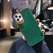 For iPhone 11 Pro Max XS XR X 8 7 Plating Gold Edge Soft Green Back Case Cover