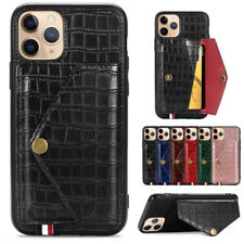 For iPhone 11 Pro Max XS XR X 8 7 Crocodile Leather Back Flip Pocket Case Cover
