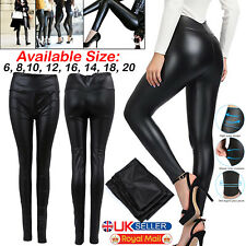 Ladies Black Faux Leather High Waist Leggings Wet Look Shiny Stretchy Tight Pant