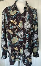 Oscar B printed blouse sizes 16,18,20, long sleeves collared