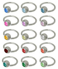 Captive Ring with Gem Bead 14G Surgical Steel