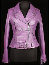Keira Purple Ladies Women's New Biker Style Fashion Real Cow Hide Leather Jacket