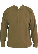 Beige Collarless Shirts Grandad Shirt sizes small to 2XL