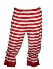 SEXY RED & WHITE STRIPED LONG 3/4 BLOOMERS PANTS SHORTS FANCY DRESS