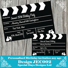 Personalised Birthday party invitation 18th 21st 30th JEC002 Movie Clapper board