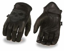 Milwaukee Leather Men's Reflective Skull Glove w/ Gel Palm for Motorcycle Riders