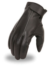 Men's Leather Motorcycle Riding Glove w/ Reflective Piping & Hand Grip FI152-GL