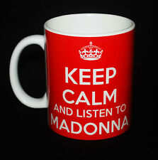NEW KEEP CALM AND LISTEN TO MADONNA GIFT MUG CARRY ON COOL BRITANNIA RETRO CUP