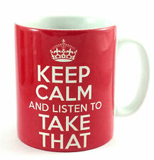 KEEP CALM AND LISTEN TO TAKE THAT GIFT MUG CARRY ON COOL BRITANNIA RETRO CUP