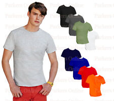 NEW MENS VALUEWEIGHT FITTED SHORT SLEEVE T-SHIRT S-XXL BLACK WHITE GREY RED BLUE