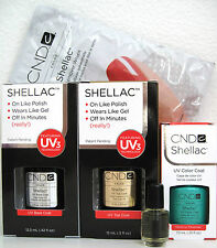 CND SHELLAC GEL POLISH SET~ANY COLOR, LARGE BASE TOP COAT, FREE WRAPS & SOLAROIL