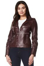 Ladies Leather Jacket Cherry Biker Motorcycle Style SOFT REAL NAPA LEATHER 9823