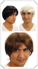 Mens Cosplay Black Brown Blonde Boy Band Star Short Wig Hair Fancy Dress Costume