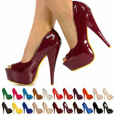 NEW WOMENS PARTY PLATFORM PUMPS HIGH HEELS STILETTO PEEPTOE COURT SHOES SIZE 3-8