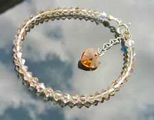 CRYSTAL HEART 925 SILVER BRACELET made with SWAROVSKI ELEMENTS Bicone Colours