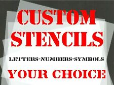CUSTOM STENCILS 30mm 40mm 50mm Letters Numbers & Symbols YOUR CHOICE 125 micron
