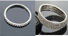 Silver Rhinestone Crystal Diamond Fashion Wedding Stretch Bracelet Single/3 Rows