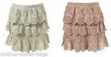 TOPSHOP SAGE PINK CROCHET TIERED SUMMER MINI SKIRT NEW SIZE 10 12 FREE P&P S4